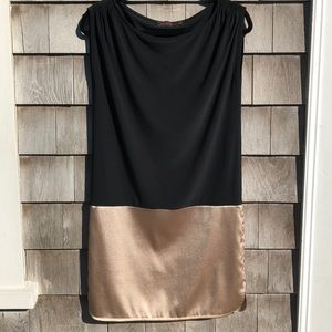 The Limited | Black blouson dress with gold skirt